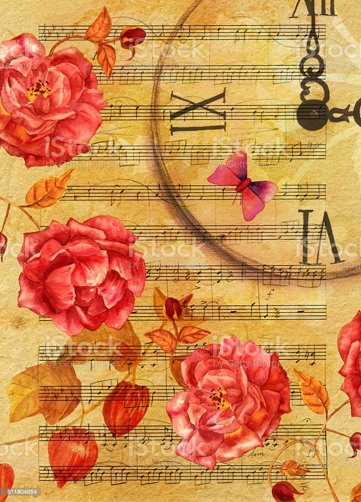 Vintage style postcard design with roses, butterfly, and sheet music vector art illustration