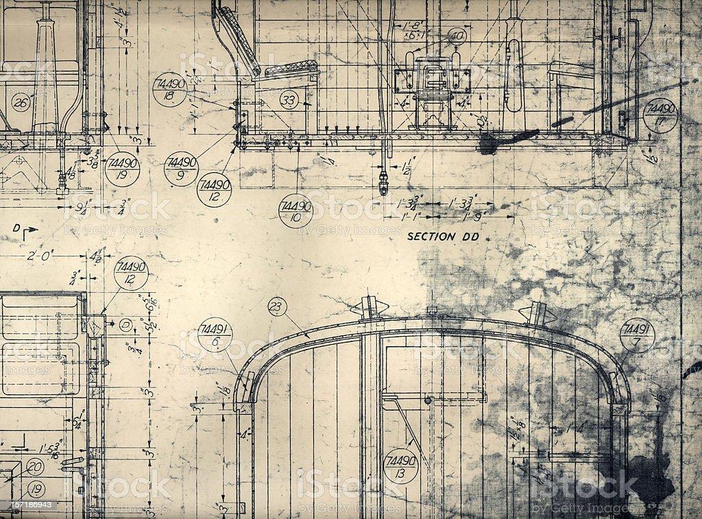 vintage train blueprint royalty-free stock vector art