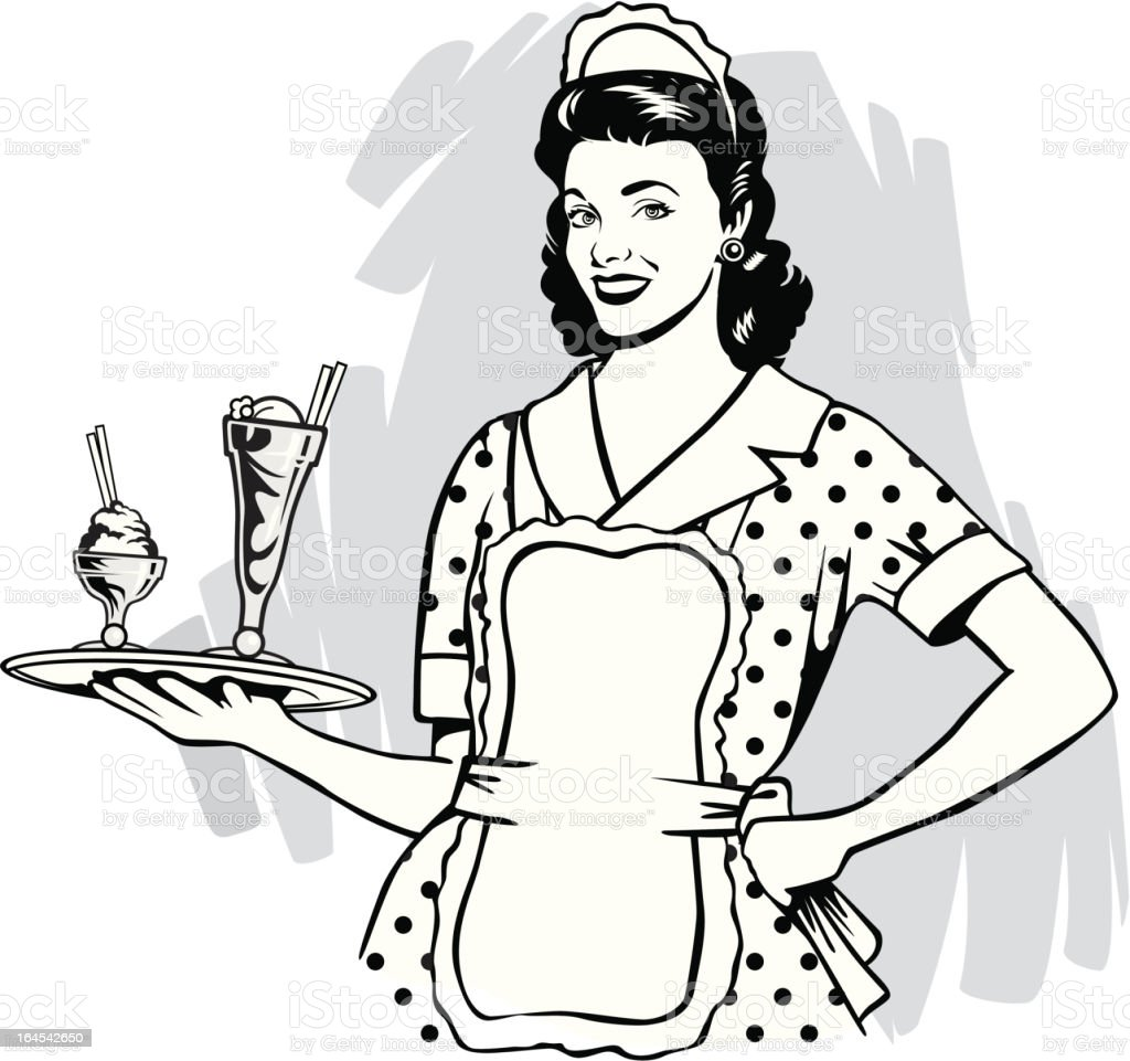 vintage waitress royalty-free stock vector art