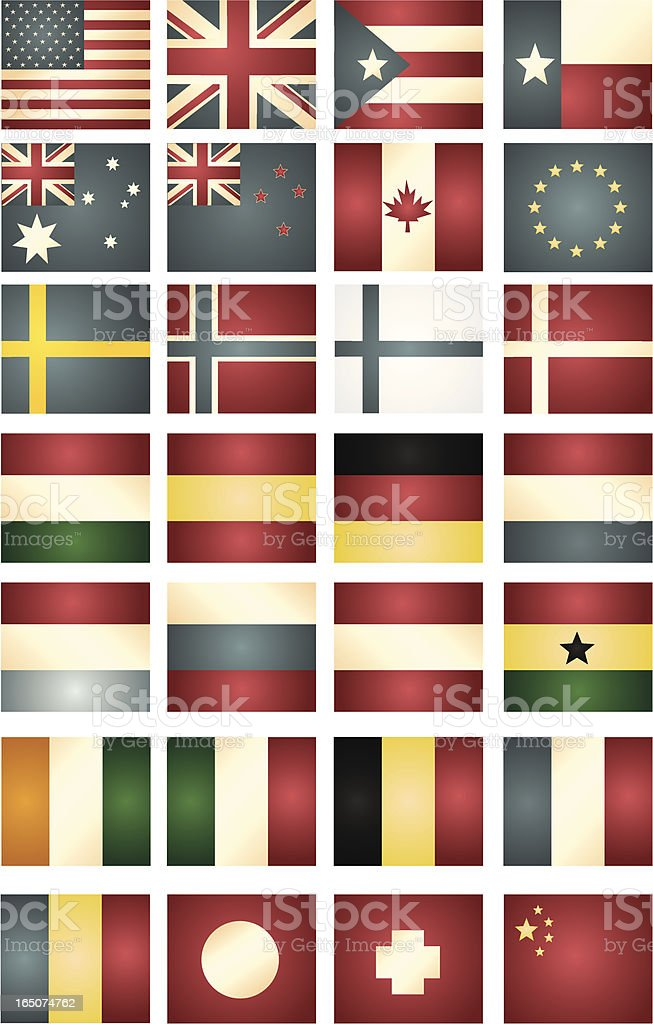 Vintage World Flag Collection royalty-free stock vector art