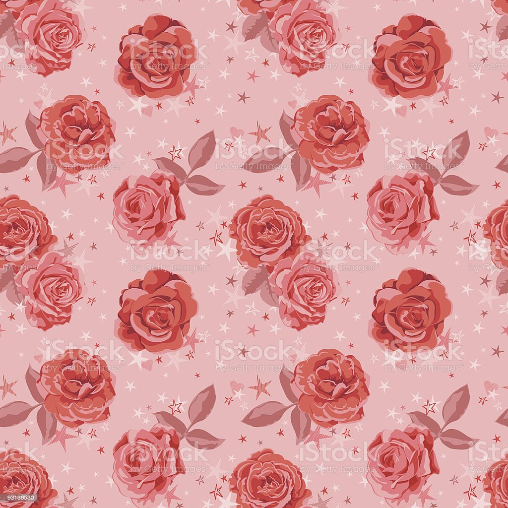 Vintage/Retro Inspired Seamless Pattern Tile - Pink/Red Roses and Stars royalty-free stock vector art