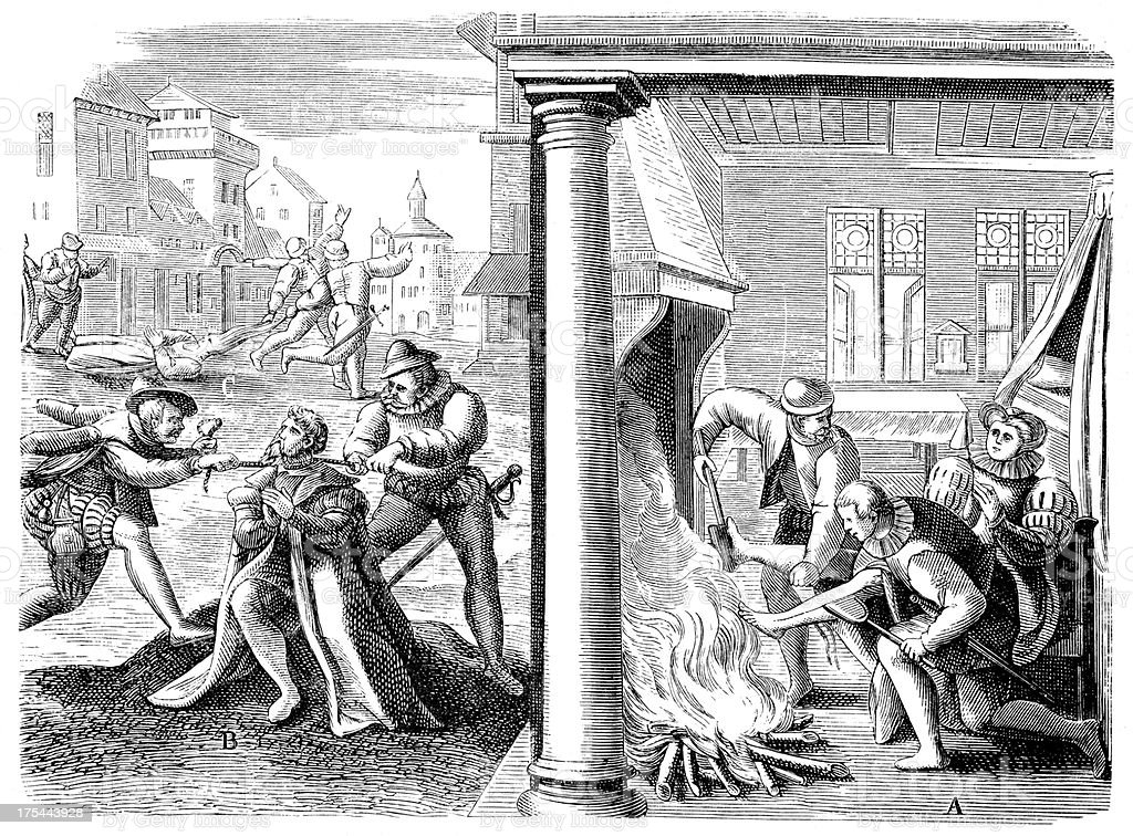 Violence of French Huguenot vector art illustration
