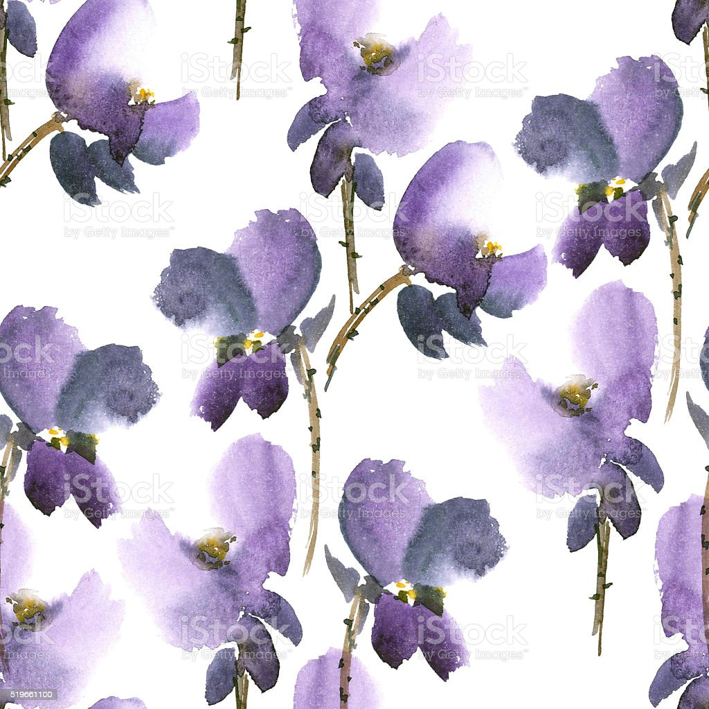 Violet flowers pattern stock photo