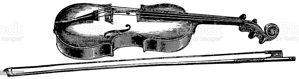 Violin | Antique Musical Illustrations vector art illustration