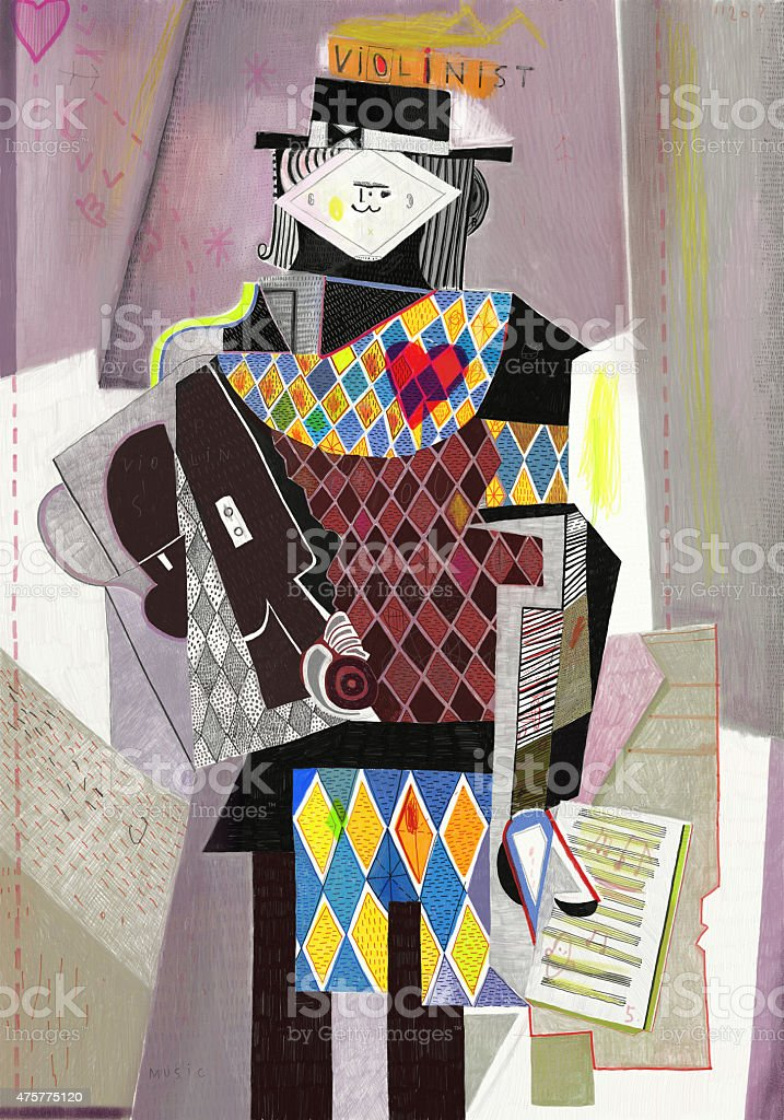 Violinist vector art illustration