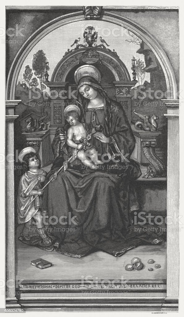Virgin and Child with St John, painted by Pinturicchio, Perugia vector art illustration