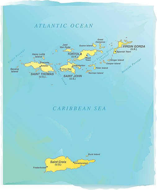 British Virgin Islands Clip Art Vector Images Illustrations - Us and british virgin islands map