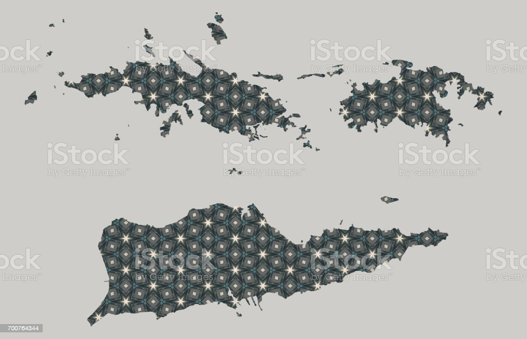 Us Virgin Islands Map With Stars And Ornaments Stock Vector Art - Stars map from us