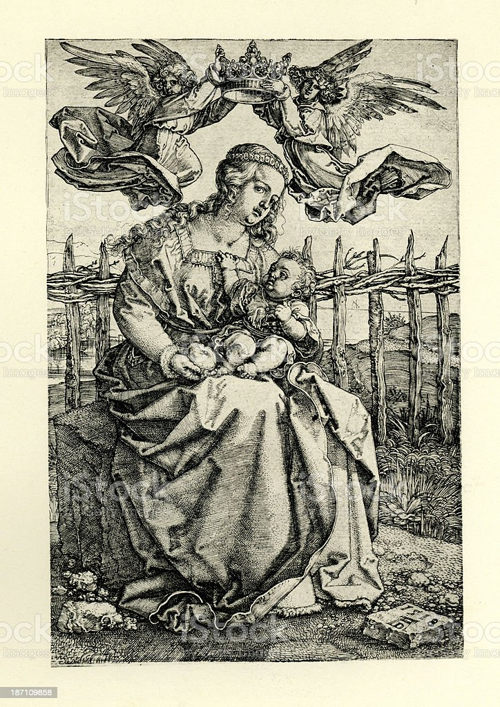 Virgin Mary and Baby Jesus royalty-free stock vector art