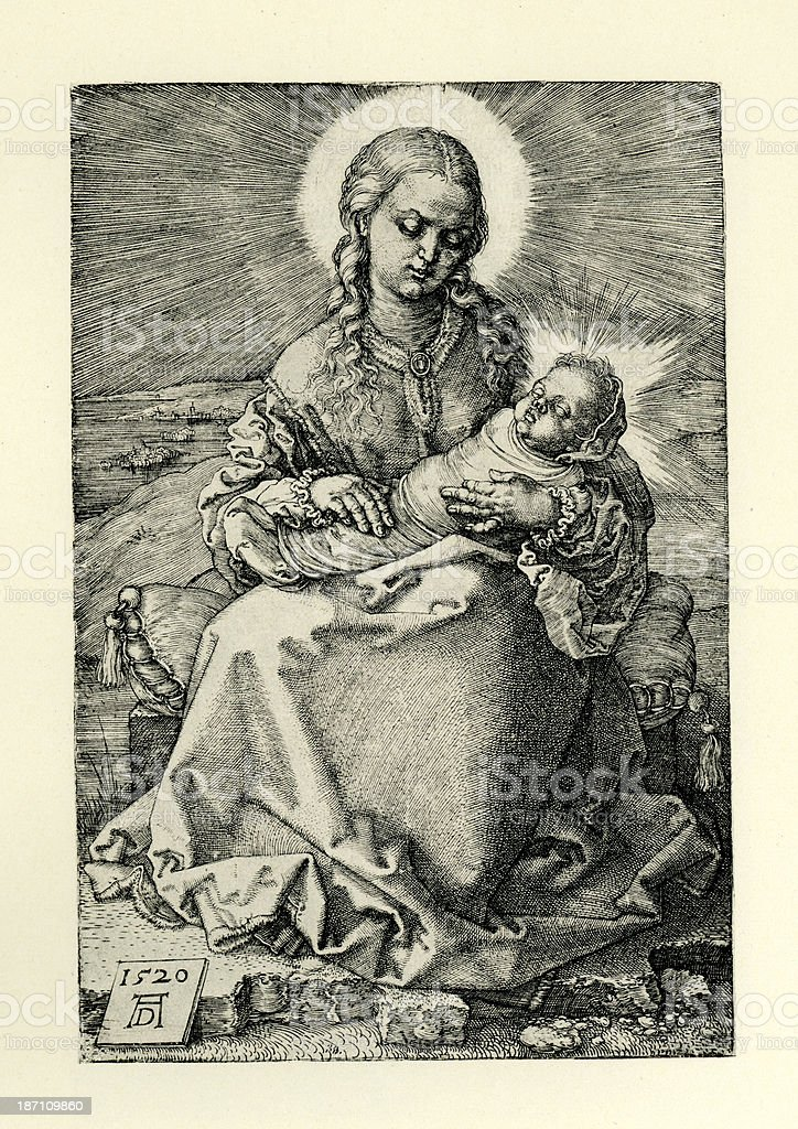 Virgin Mary and Baby Jesus royalty-free stock vector art