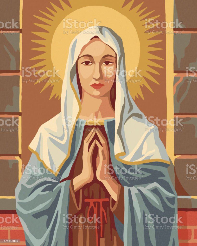 Virgin Mary Paint By Number vector art illustration