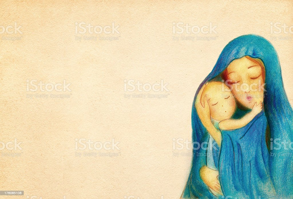 Virgin Mary with the Child Jesus royalty-free stock vector art