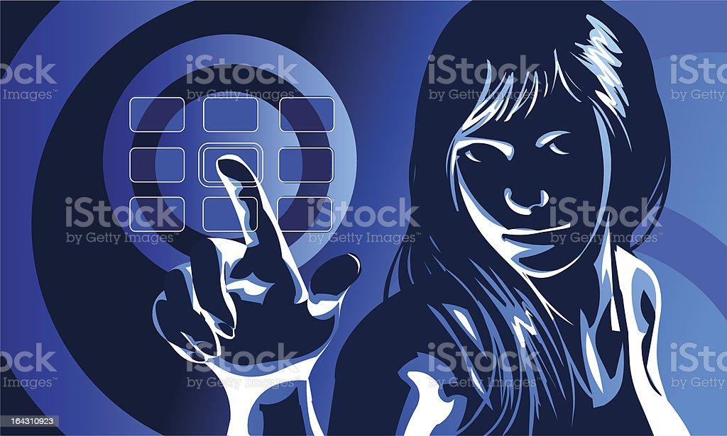 Virtual Girl Blue royalty-free stock vector art