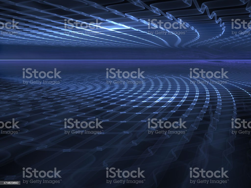 Virtual Space - abstract futuristic background vector art illustration
