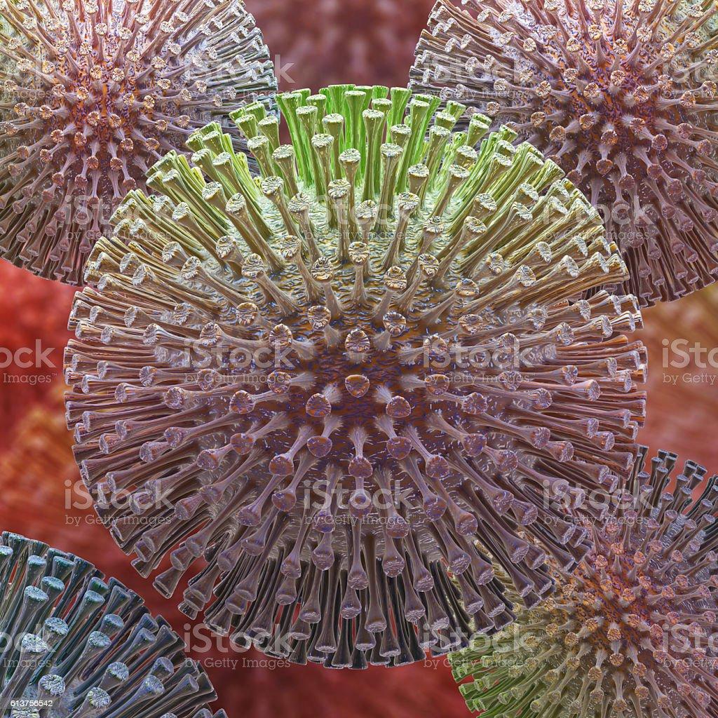 virus 3d rendering vector art illustration
