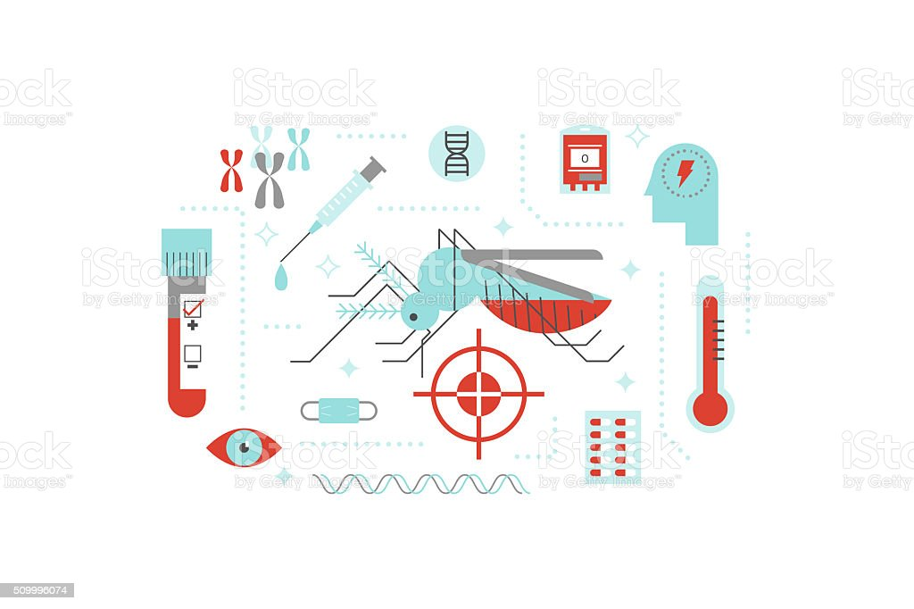 Virus or disease transmitted by mosquito illustration concept vector art illustration