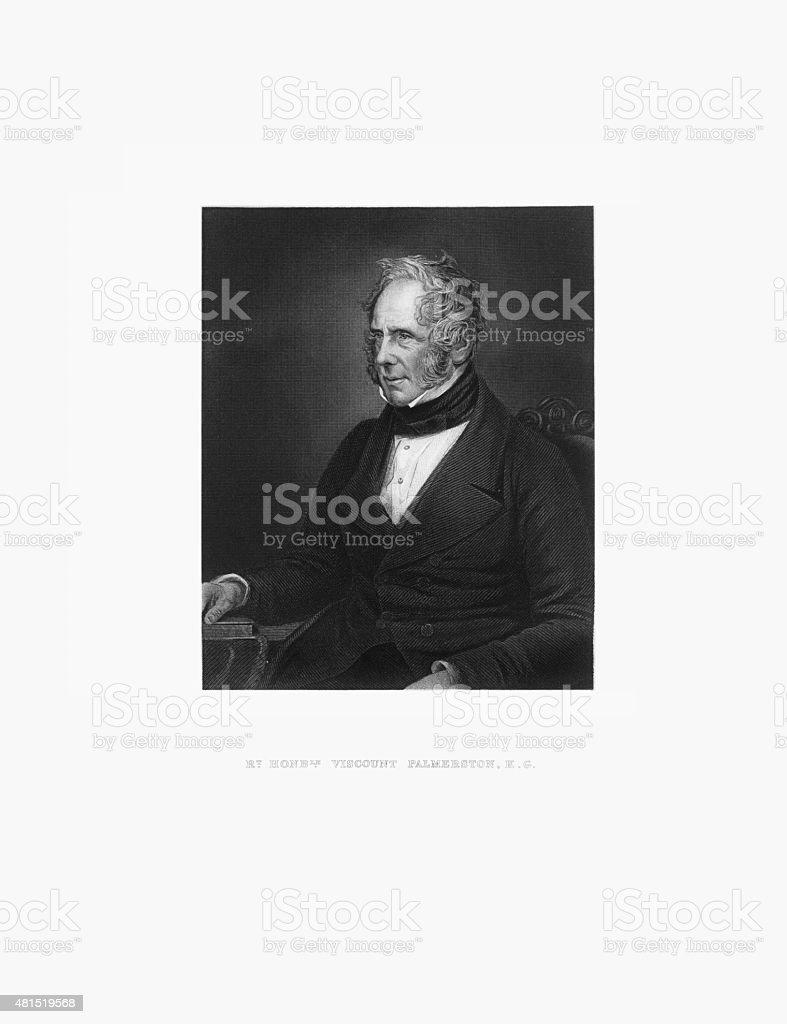 Viscount K.G. Palmerston Victorian Engraving, Circa 1865 vector art illustration