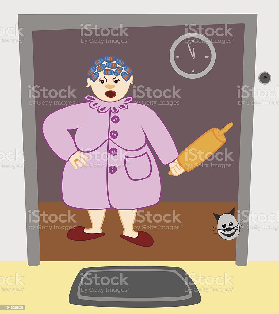 Visibly annoyed Housewife. royalty-free stock vector art