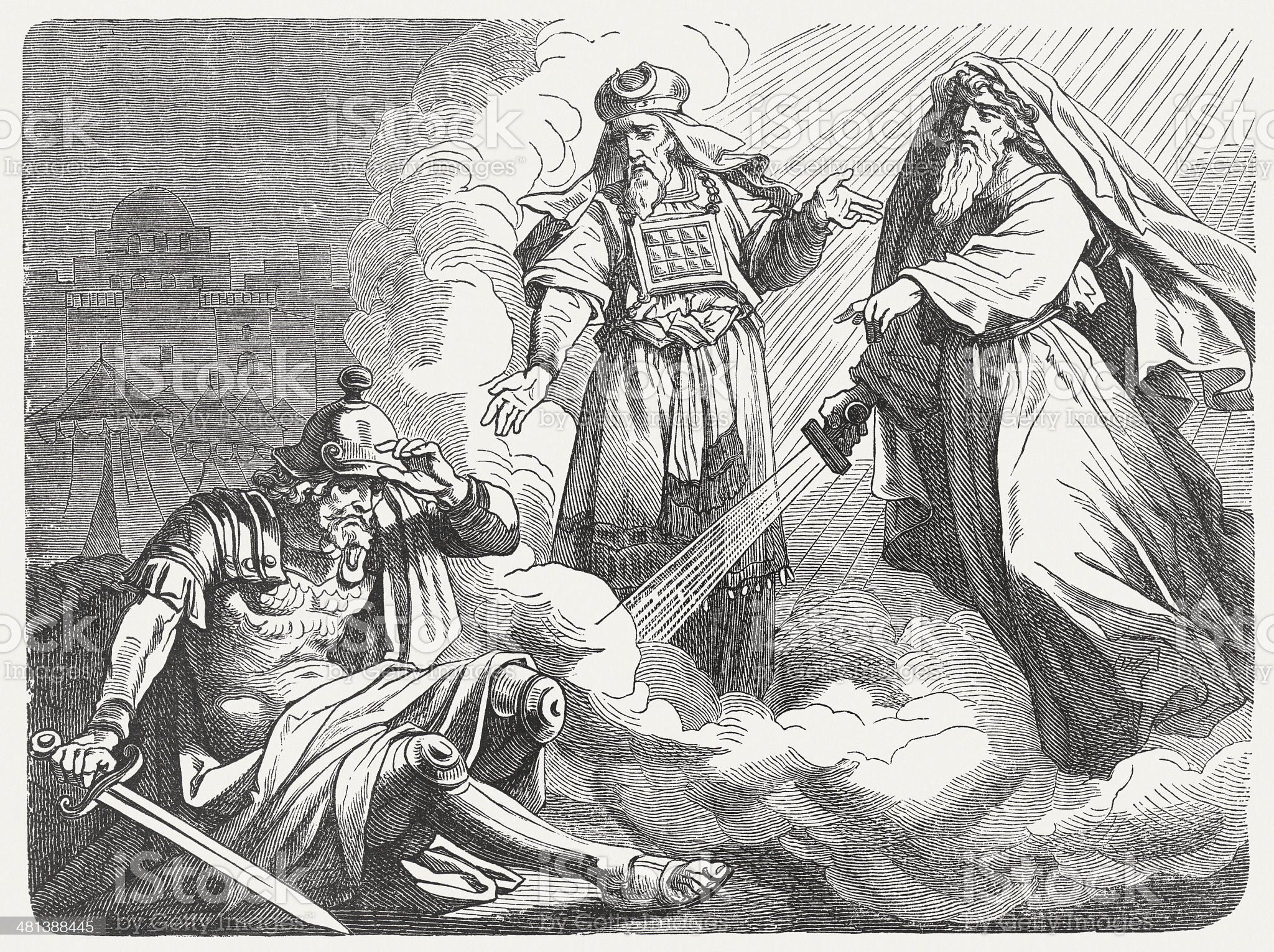 Vision of Judas Maccabeus (2 Maccabees 14, 47), published 1877 royalty-free stock vector art