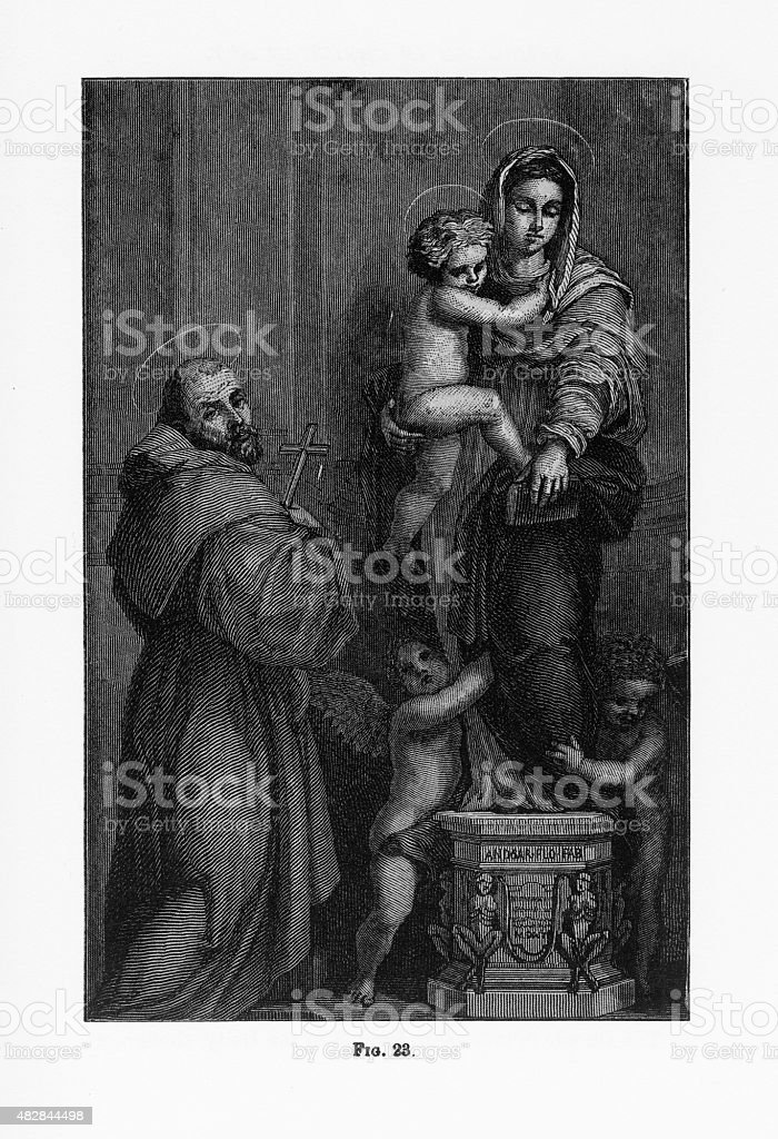 Vision of St. Augustine Christian Symbolism Engraving vector art illustration