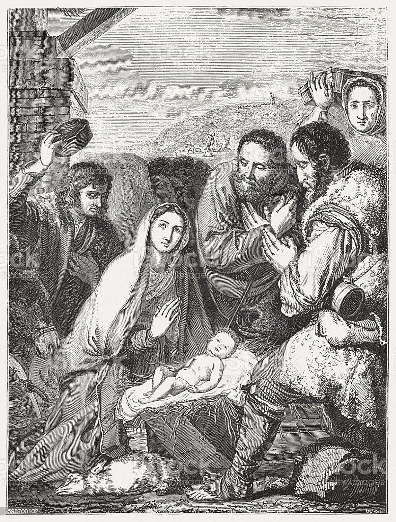 Visit of the shepherds, by Jusepe de Ribera, published 1855 vector art illustration