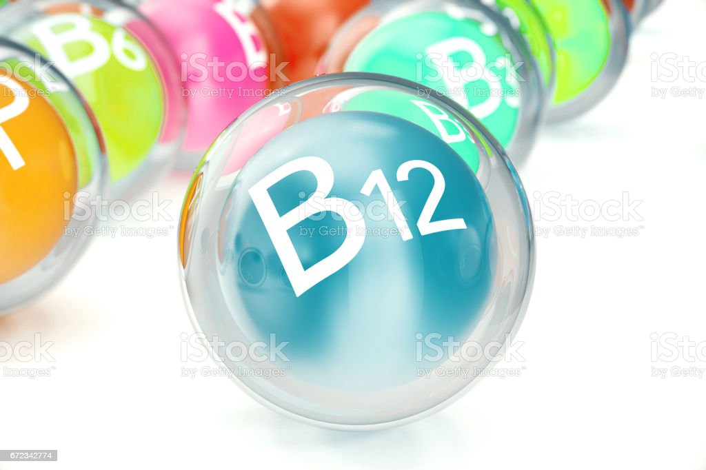 Vitamin B12, isolated on white background. Symbol of health and longevity, 3d rendering vector art illustration