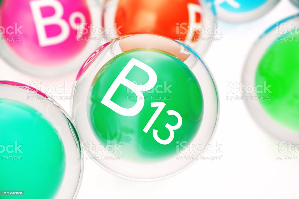 Vitamin B13, group of organic substances, food additive, isolated, on white background, 3d rendering vector art illustration