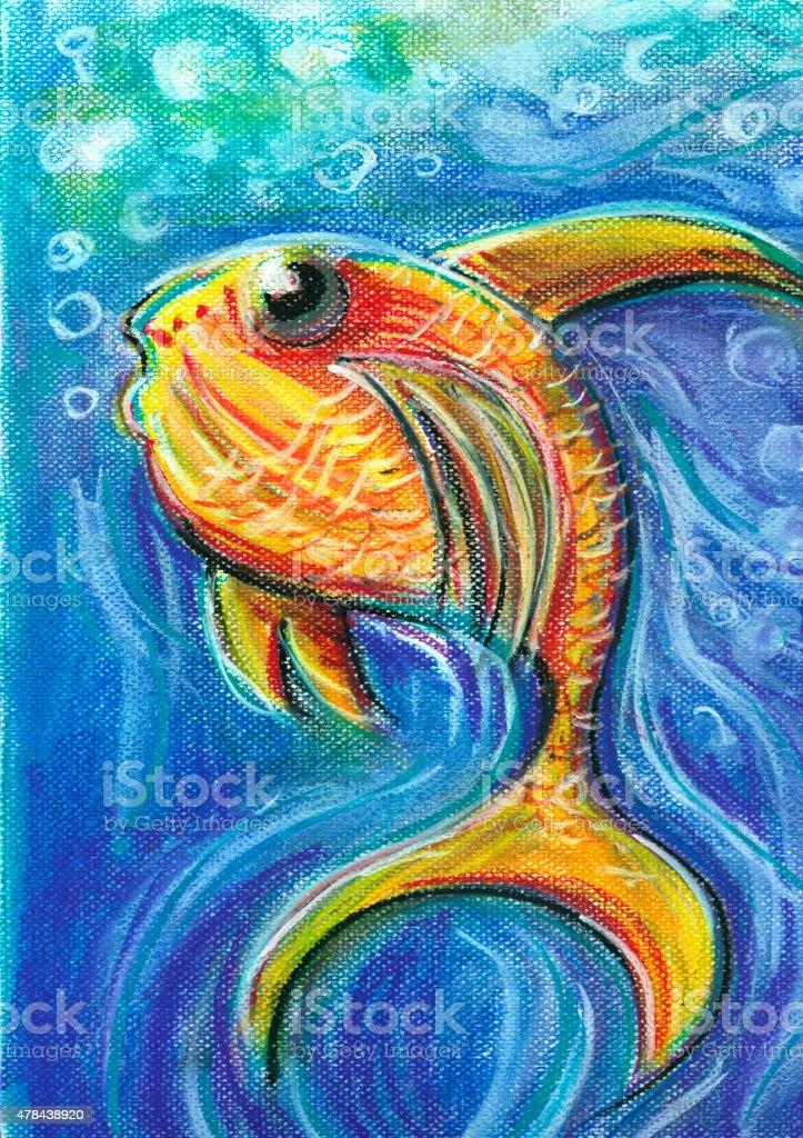 Vivid Fish For Children Pastel Chalk Drawing vector art illustration