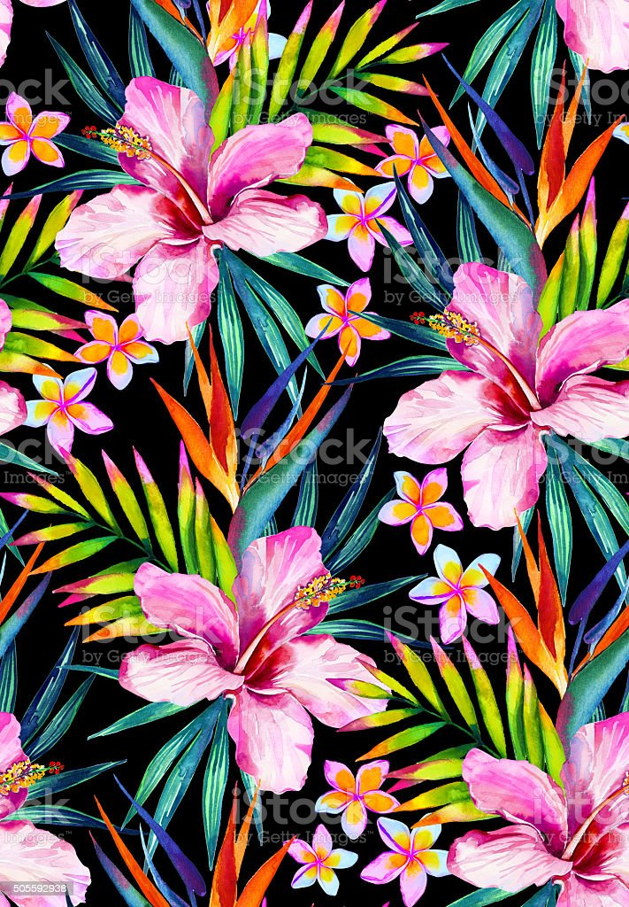Vivid jungle seamless pattern illustration in watercolor stock photo