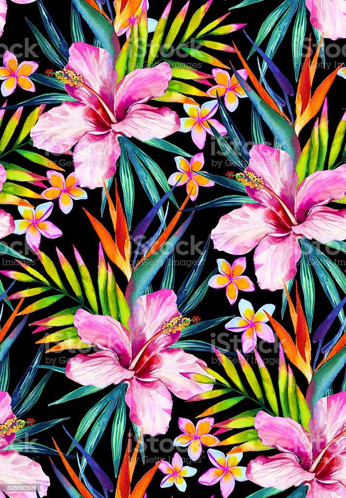 Vivid jungle seamless pattern illustration in watercolor vector art illustration