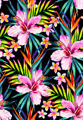 Vivid jungle seamless pattern illustration in watercolor