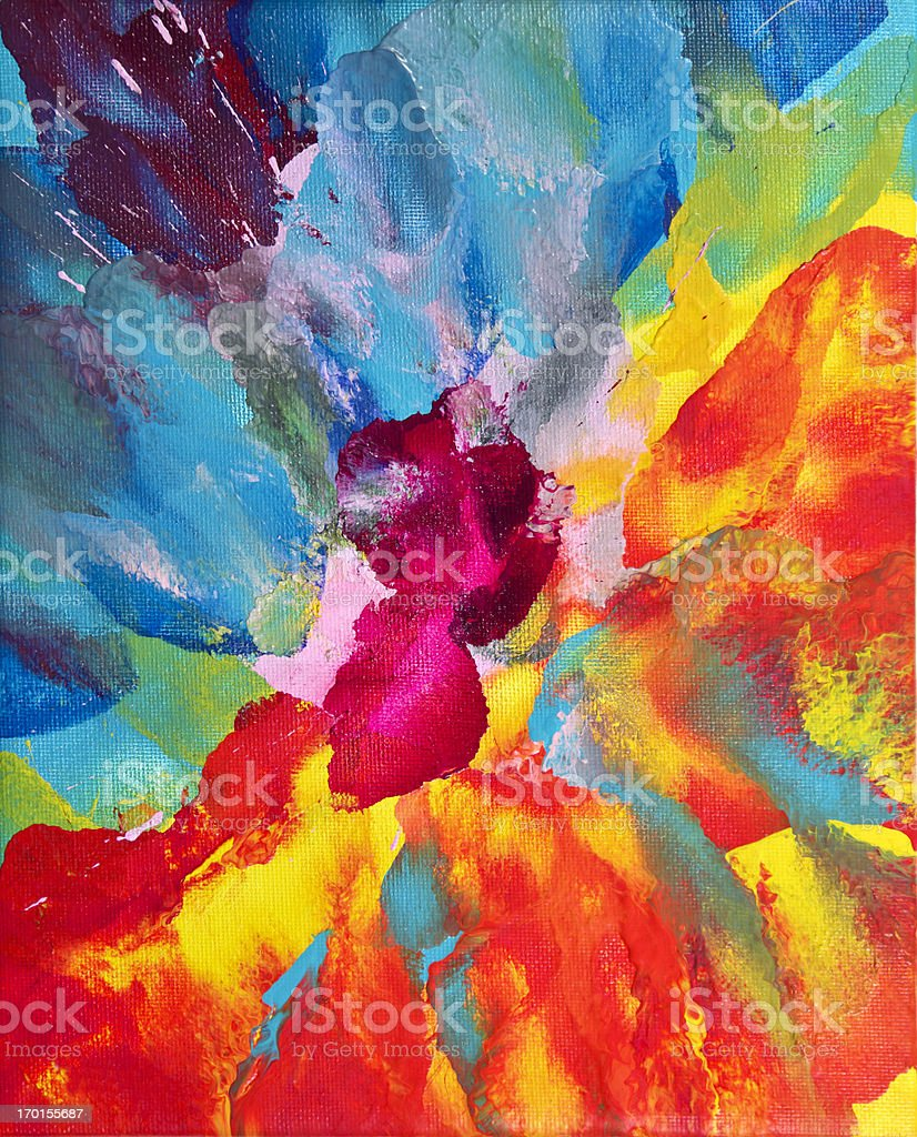 Bright multicolored abstract art on canvas. Done by using a blower to...