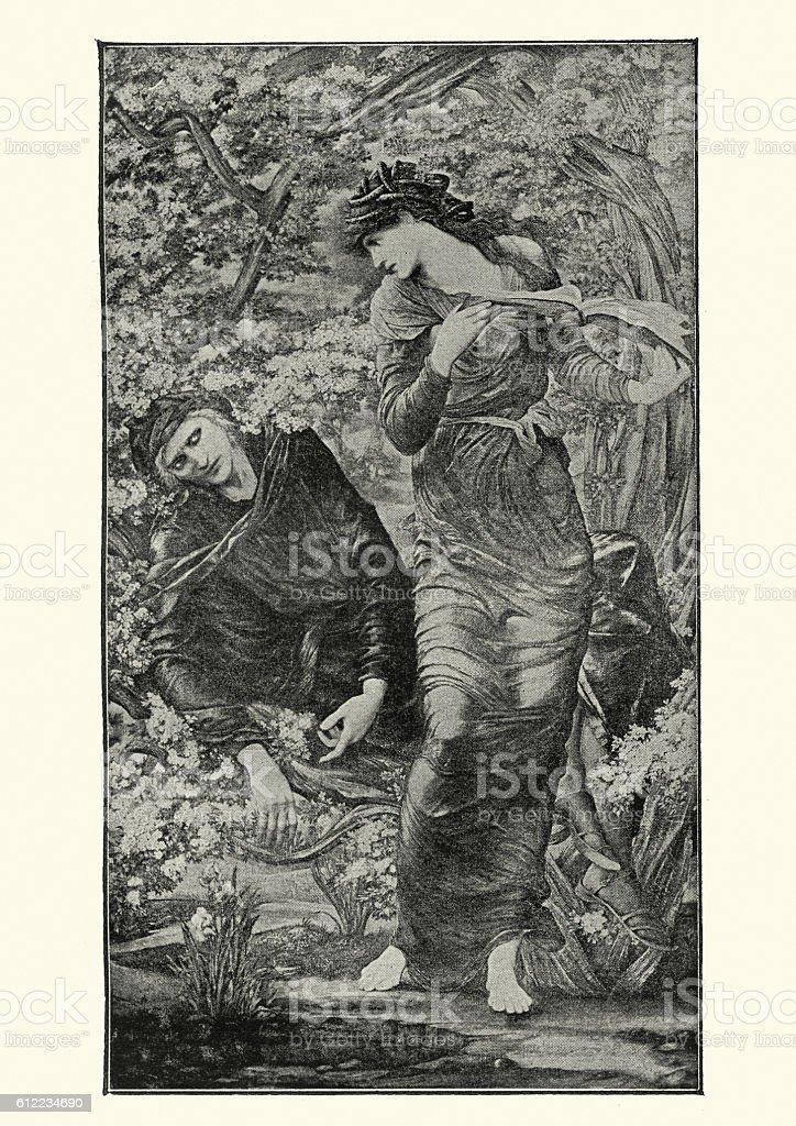Vivien and Merlin vector art illustration