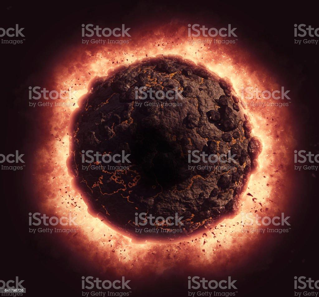 3D volcanic planet exploding vector art illustration