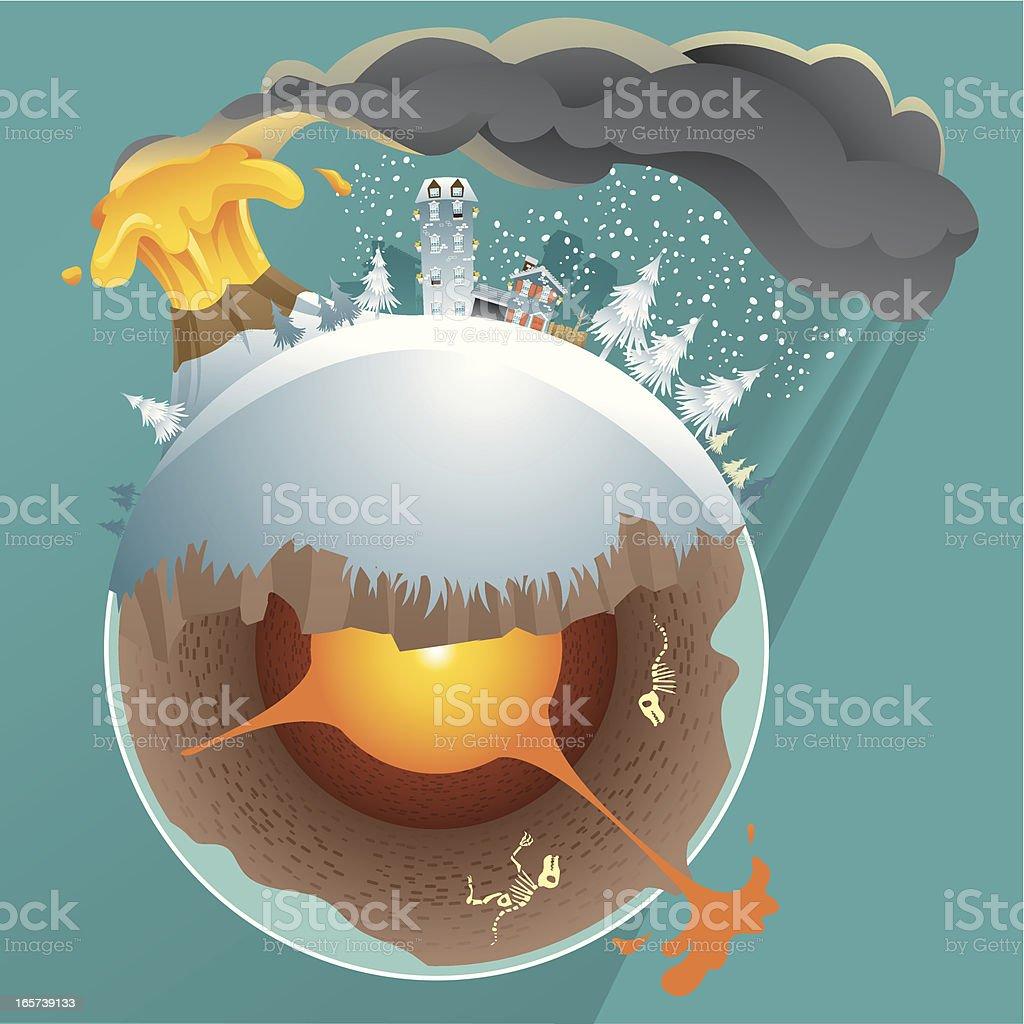 Volcano Disaster vector art illustration