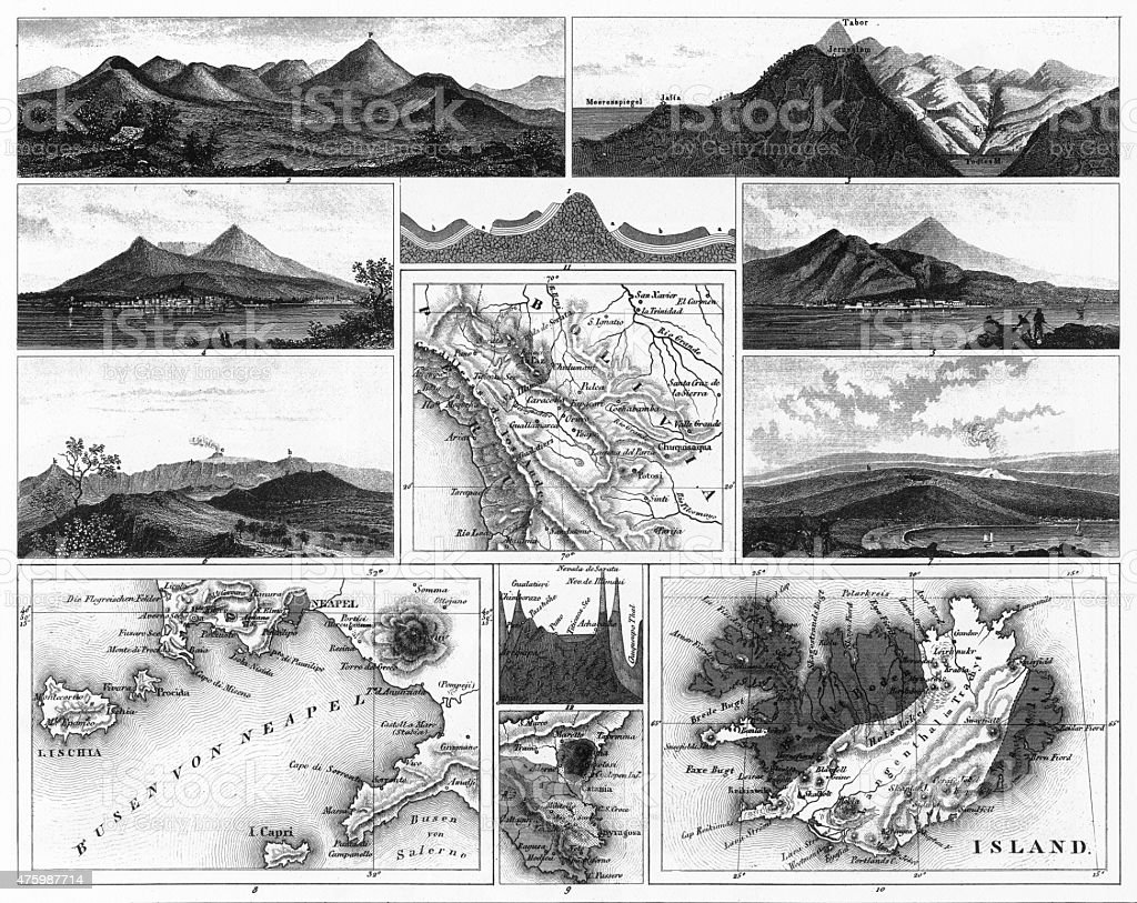 Volcanoes and Volcanic Formations and Stratification Engraving vector art illustration