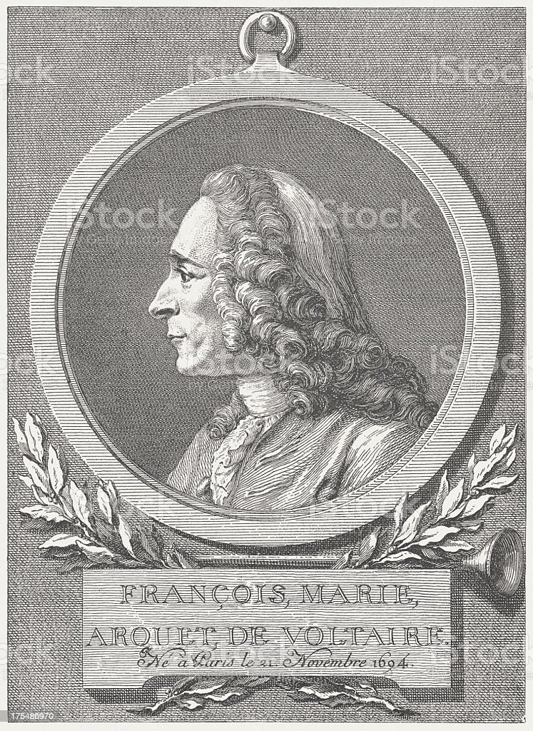 Voltaire (1694-1778), French philosopher, wood engraving, published in 1882 royalty-free stock vector art