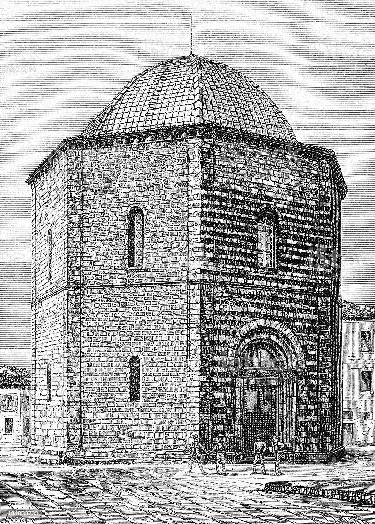 Volterra Baptistery vector art illustration