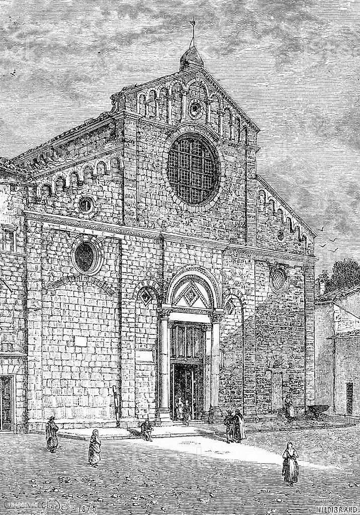 Volterra Cathedral vector art illustration