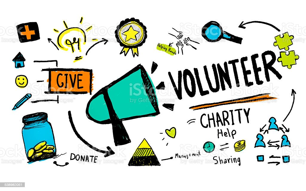 Volunteer Charity and Relief Work Donation Help Concept vector art illustration