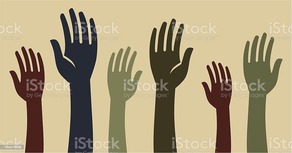 volunteer hands vector art illustration