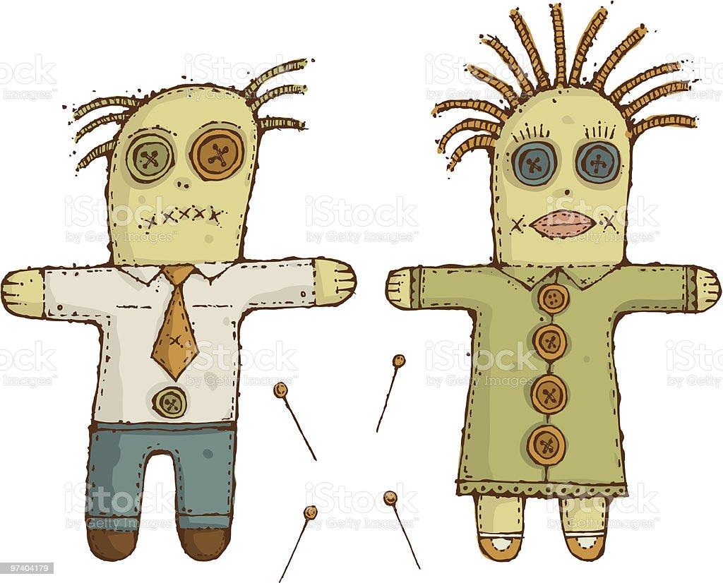 Voodoo Dolls vector art illustration