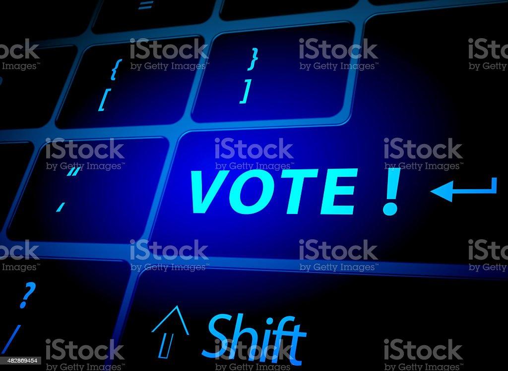 Vote button on computer keyboard vector art illustration