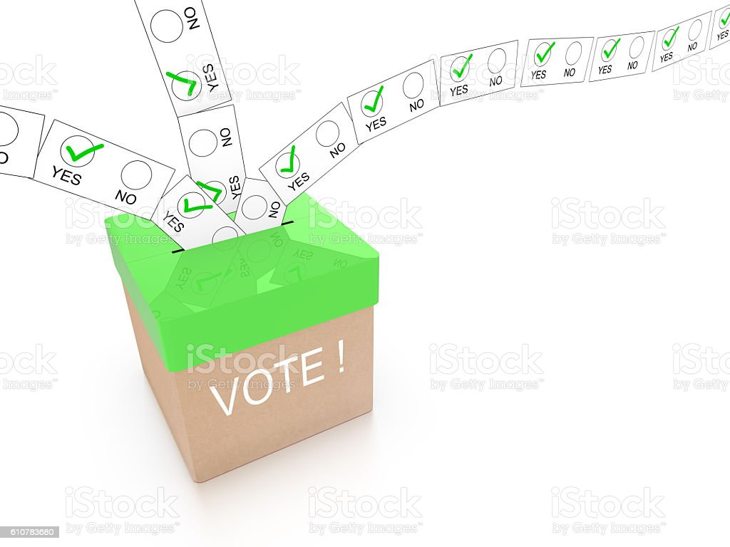 Vote yes concept with green ballot box vector art illustration