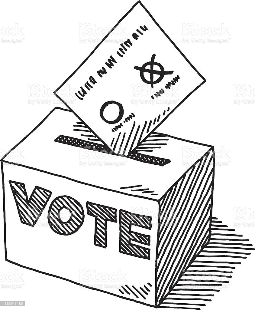 Voting Ballot Box Drawing vector art illustration
