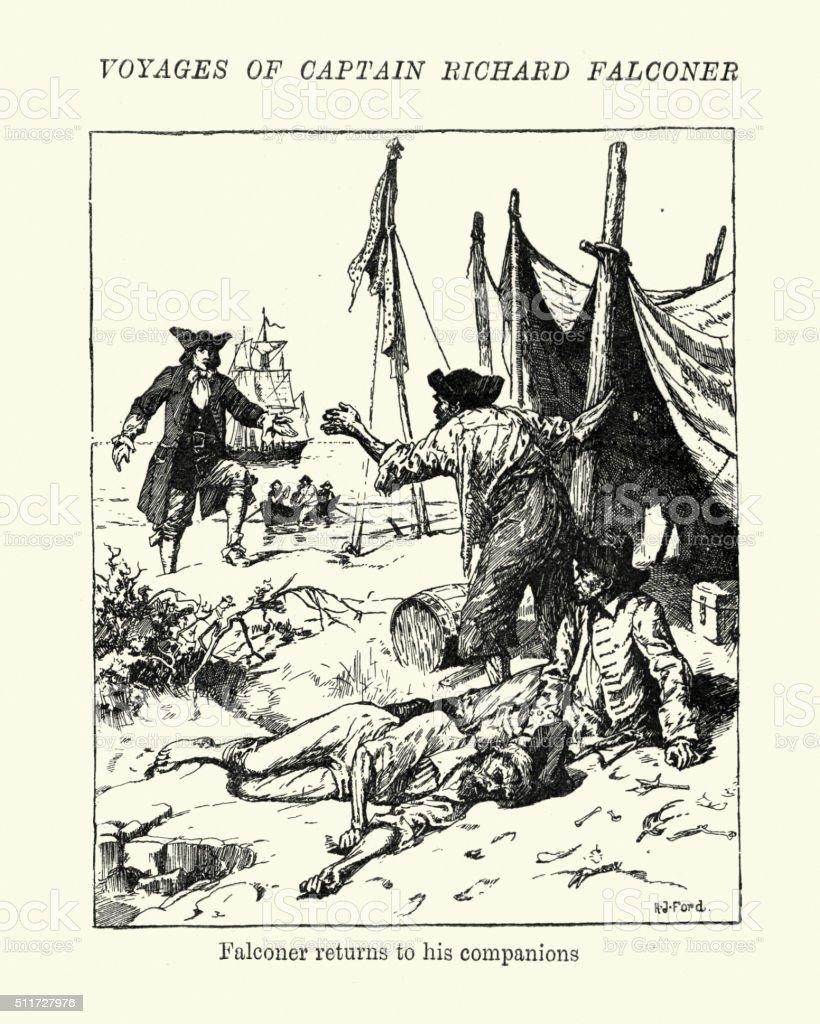 Voyages of Captain Richard Falconer vector art illustration