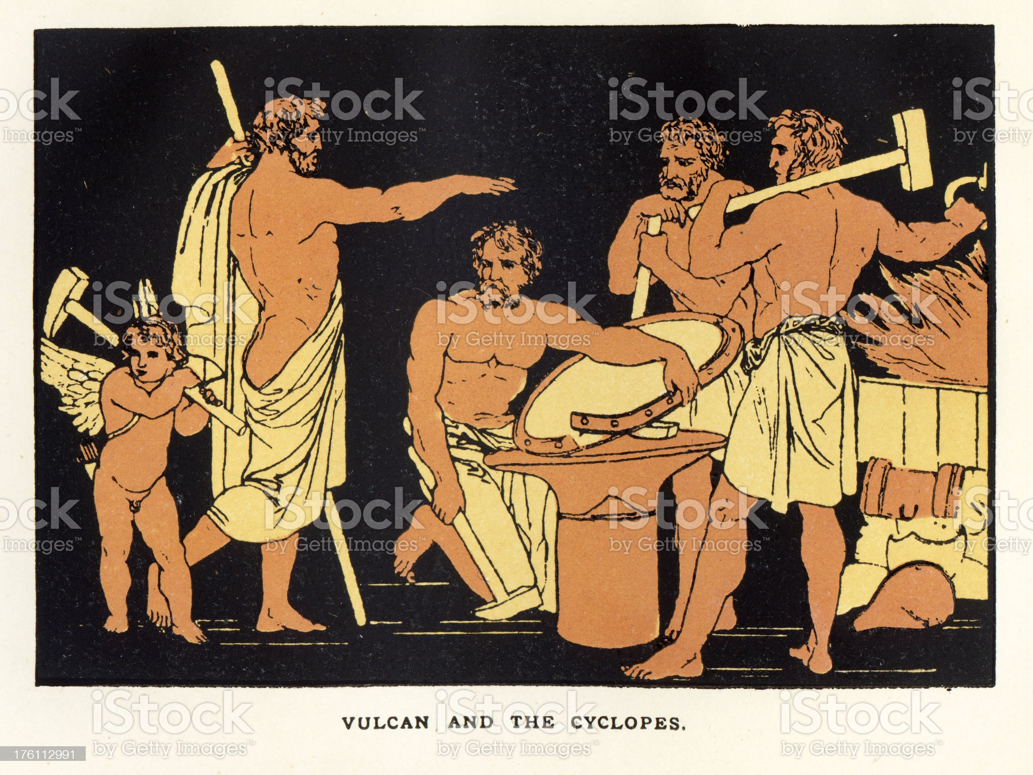 Vulcan and the Cyclopes royalty-free stock vector art