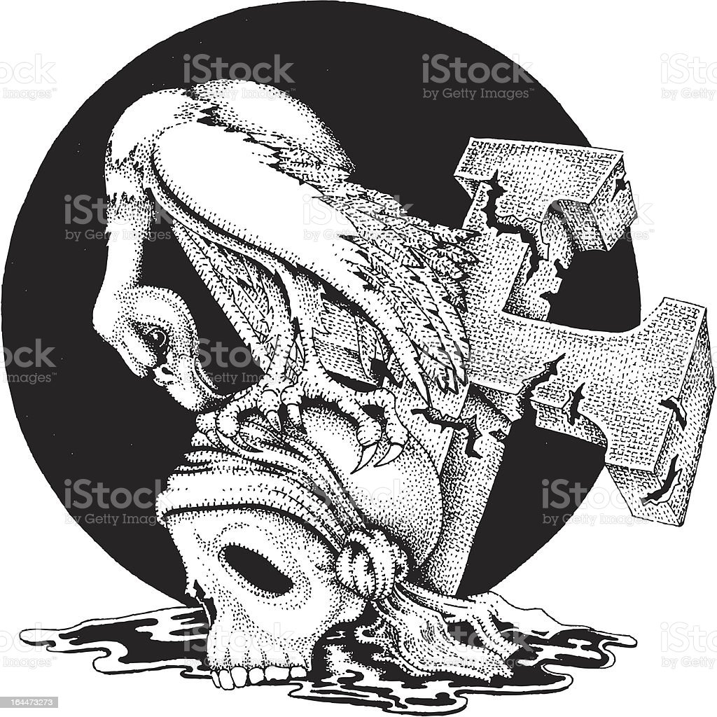 Vulture And Scull vector art illustration