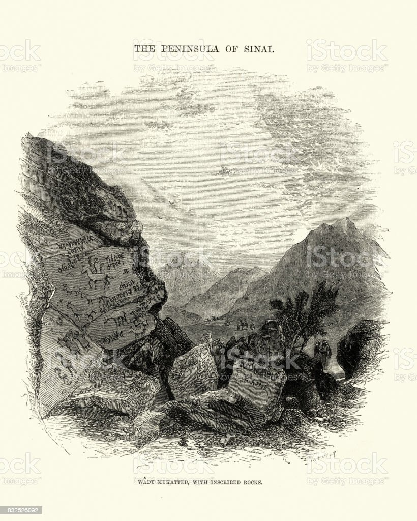 Wadi Mukattab, Valley of Inscriptions, Sinai, 19th Century vector art illustration