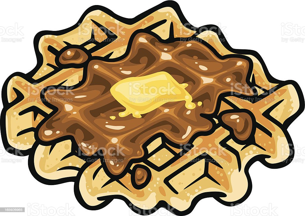 waffle with syrup and butter vector art illustration
